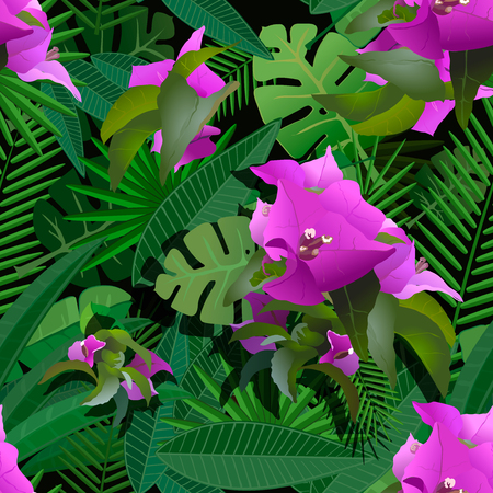 tropical flower: tropical flower and plants painting seamless background