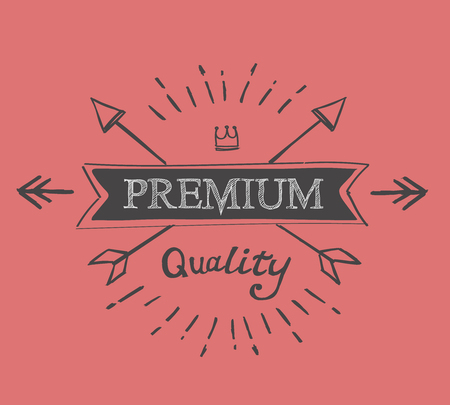 hand lettered: hand lettered catchword premium quality vintage  tag vector