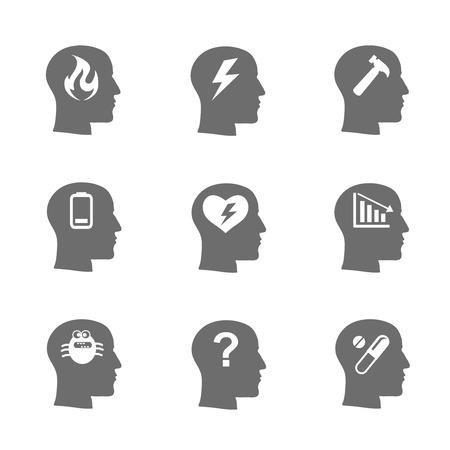 inteligencia: Iconos de salud mental establecidos, concepto de estrés, depresión. Cargue, la desesperación emocional desesperada, presión estresante, símbolo problemas y tristeza, preguntas. Ilustración vectorial Vectores