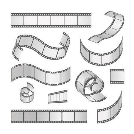Deslice conjunto marco de la película, rollo de película de 35 mm. Tira de película negativa de los medios y tiras, ilustración vectorial