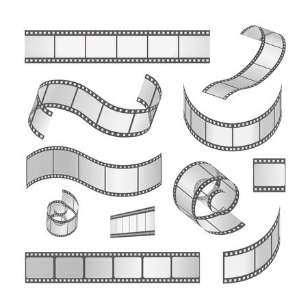 rollo pelicula: Deslice conjunto marco de la película, rollo de película de 35 mm. Tira de película negativa de los medios y tiras, ilustración vectorial