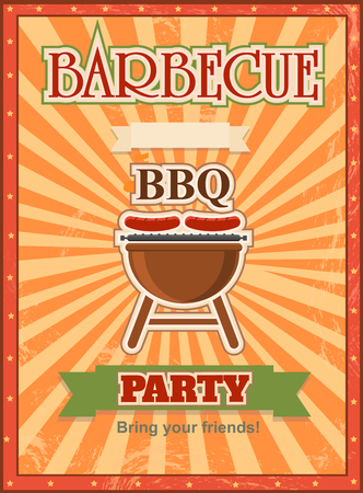 charcoal grill: Invitation card on the  barbecue design template Cookout poster with charcoal grill sausages, forks and place for text.