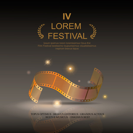 Camera film 35 mm roll gold, festival movie poster , Slide film frame, vector illustration