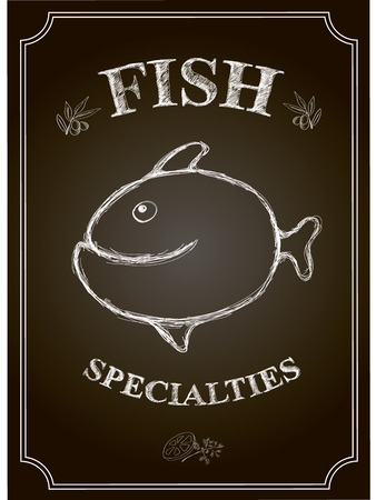 Blackboard fish restaurant  seafood menu card . Stock Photo