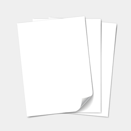 one sheet: Empty white paper sheet.  set isolated Stock Photo