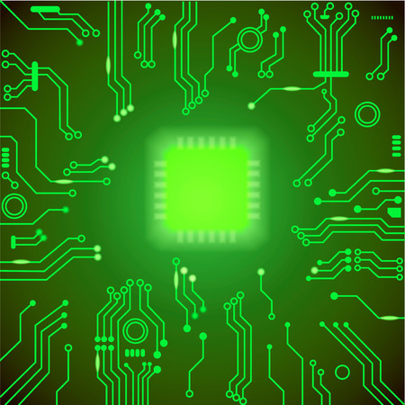 motherboard: Circuit board green background. motherboard Processor and chip, cpu computer design,  illustration Stock Photo