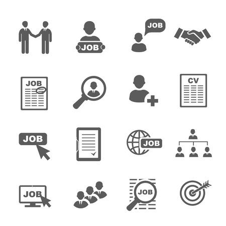 trabajo: Vector de búsqueda de empleo negro iconos conjunto, los recursos humanos y reclutamiento
