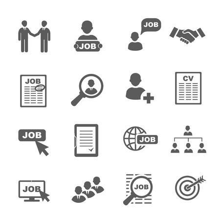 Vector black job search icons set, human resource and recruitment