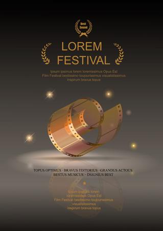 Película de la cámara 35 mm rollo de oro, póster de la película del festival, las películas de diapositivas marco, ilustración vectorial