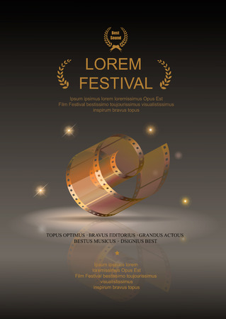cine: Película de la cámara 35 mm rollo de oro, póster de la película del festival, las películas de diapositivas marco, ilustración vectorial