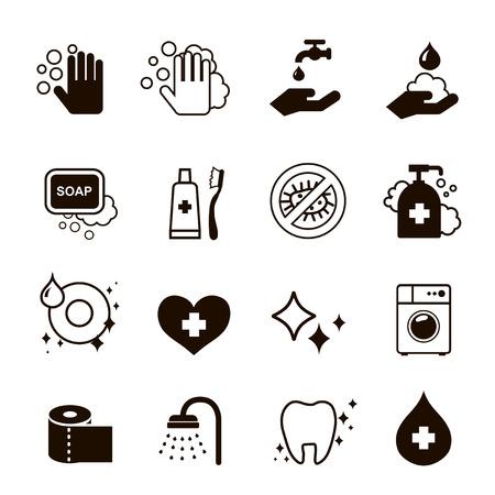 hygiëne zwarte pictogrammen instellen vector