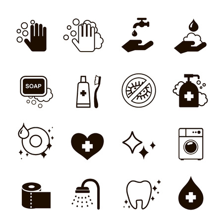 hygiene black  icons  set vector