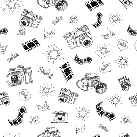 camera symbol: Photography camera sign and symbol doodles hand drawn set  elements vector illustration .