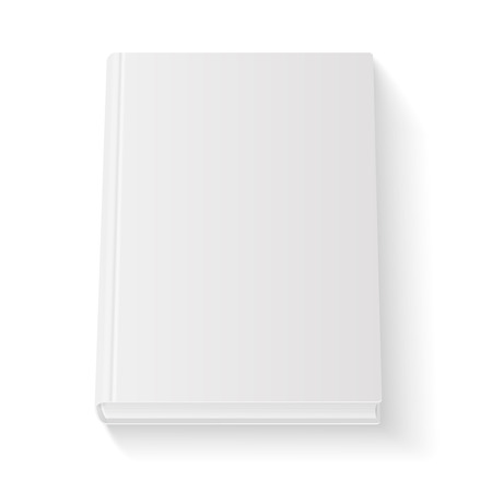 Blank book cover template on white background with soft shadows. Perspective view. Vector  illustration.