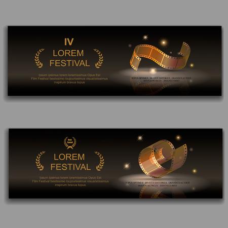 cinta pelicula: banderas de películas del festival de cine, cámara de 35 milímetros de carrete de oro, películas de diapositivas marco, ilustración vectorial