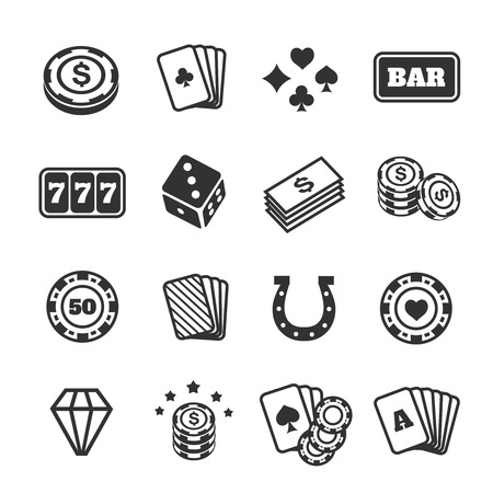 gambling game: Gambling icons set.  Card and casino, poker game, dice and ace. Vector illustration Illustration