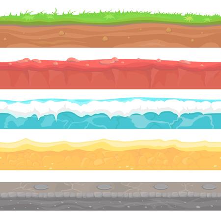 Naadloze terrein, bodem en land vector set voor UI games. Water steen gras sneeuw zand Stock Illustratie