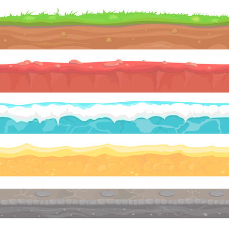 Seamless grounds, soils and land vector set for UI games. Water stone grass snow sand