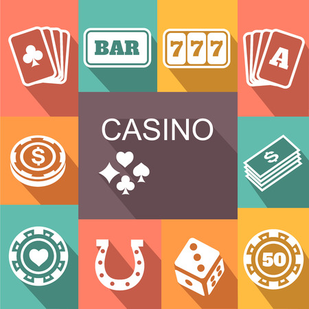 double the chances: gambling related vector icons set Poster. Card and casino, poker game, dice