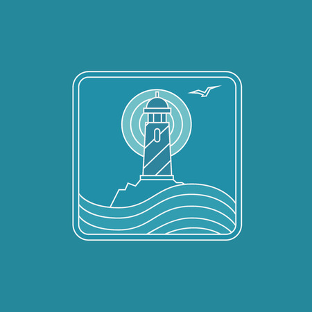 navigational: lighthouse logo design template in trendy linear style - abstract emblem and badge - navigational and travel concept
