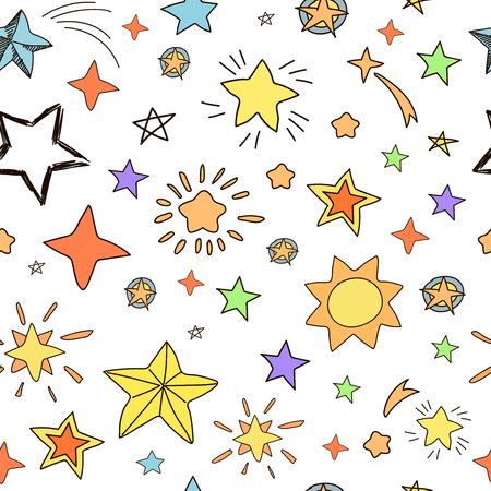school icon: Collection of handdrawn stars seamless pattern yellow, orange, pinc, blue