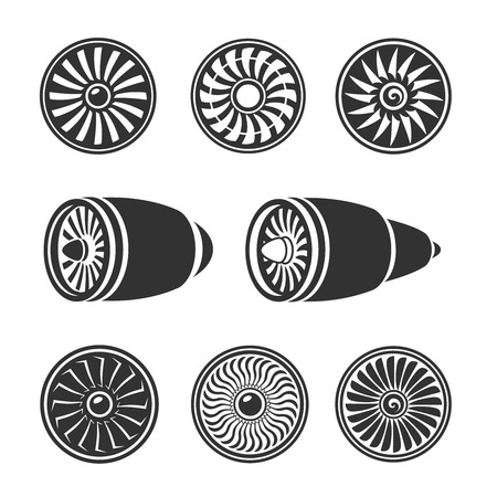 aircraft engine: Turbines icons  set, airplane engine silhouettes and  technology aircraft. Vector