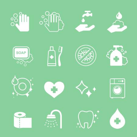 de higiene: Higiene y limpieza iconos blancos fijados. Lavar a mano, jabón, papel higiénico o pasta de dientes.