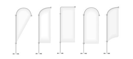 フラグ ベクター空白のバナー スタンド ディスプレイ、マーケティング、キャンバス、白で隔離プロモーション バナーの設定