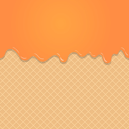 background pattern: Caramel vanilla Melted on Wafer Background. Illustration
