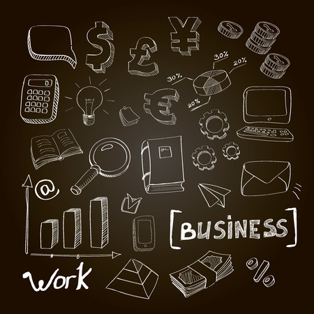 business planning: Hand drawn vector illustration set of business planning doodles elements.  Isolated on a chalckboard