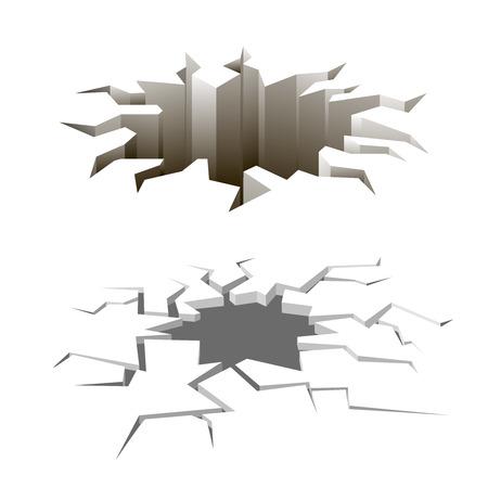 cracks: Cartoon ground cracks set Illustration
