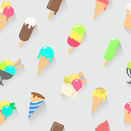 ice cream cup: Ice cream on a stick, in waffle cup seamless pattern illustration