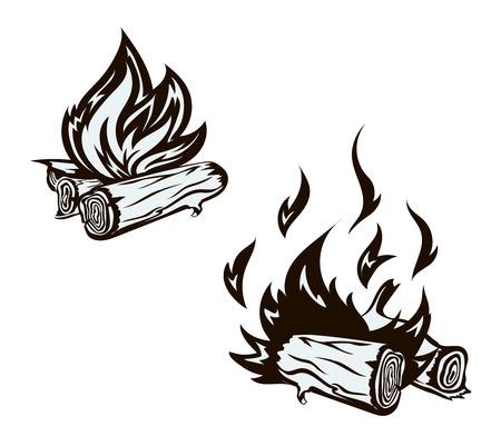 flames: cartel con dibujado a mano conjunto hoguera