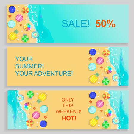 agence de voyage: Ensemble de l'Agence de Voyage Horizontal Bannières d'été avec la mer et les étoiles de mer