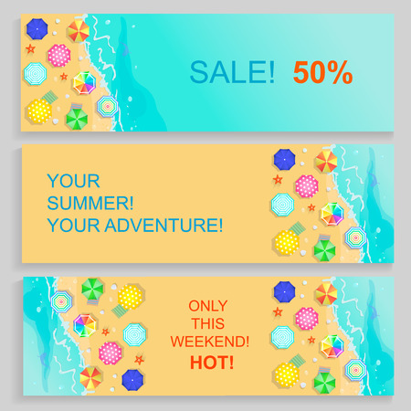 caribbean beach: Set of Horizontal travel Agency summer Banners with seaside and starfish