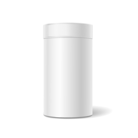 tin packaging: White tin box packaging container for tea or coffee isolated illustration
