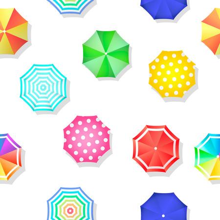 deckchair: Beach set of sun umbrellas seamless pattern Stock Photo
