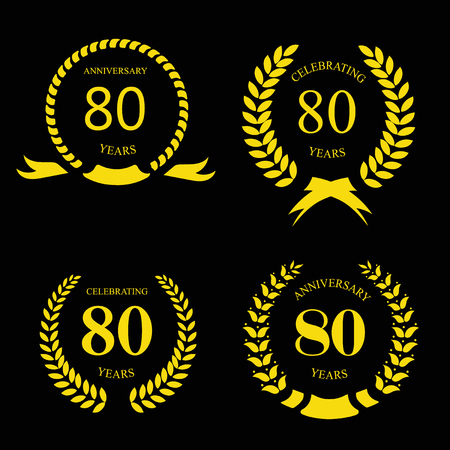 80 year old: 80 eighty years icon Template for celebration and congratulation design Illustration