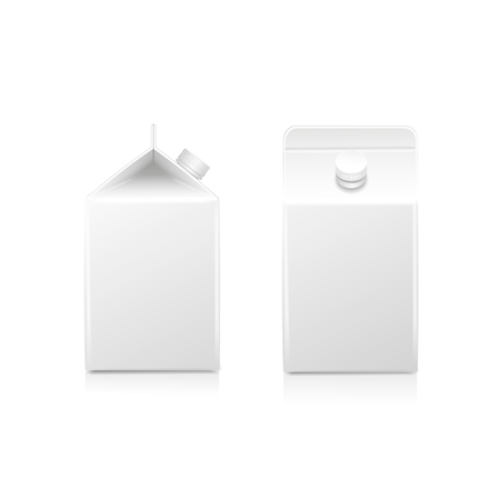 front view: White half-liter cardboard brick package for diary products, juice or beverage Stock Photo