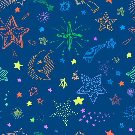 sky night: Seamless pattern with blue night sky and colorful hand drawn doodle stars and comets
