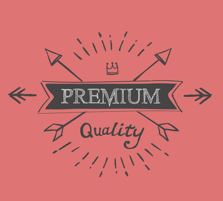 catchword: hand lettered catchword premium quality vintage tag Stock Photo