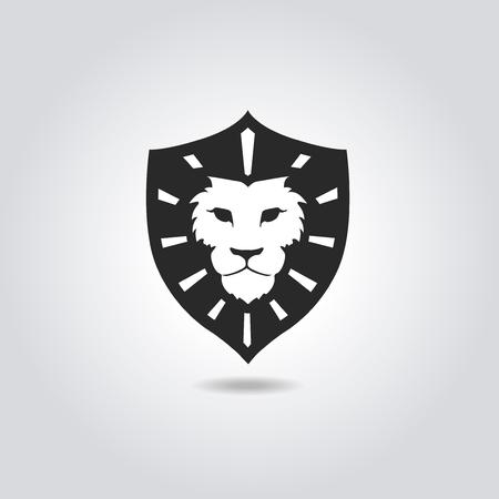 cabeza: Cara del león plantilla de logotipo emblema para el diseño de negocios o una camiseta. Vintage Design Element. Foto de archivo