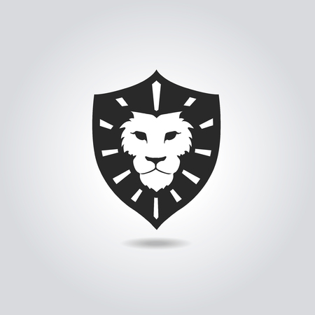 head icon: Lion face logo emblem template for business or t-shirt design. Vintage Design Element.