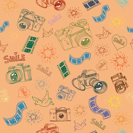 Photo camera and film sign  symbol doodles hand drawn seamless pattern 일러스트