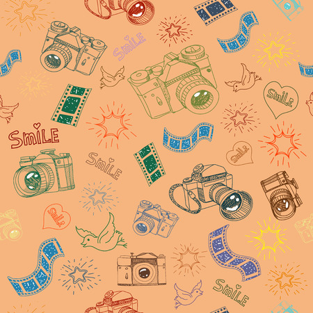 Photo camera and film sign  symbol doodles hand drawn seamless pattern Ilustrace