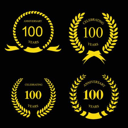 one hundred and ten: Anniversary  golden laurel wreath, 100 hundred years vector set