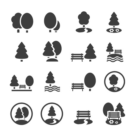 park bench: Park Icon Set. Trees, forest and  bench vector icons