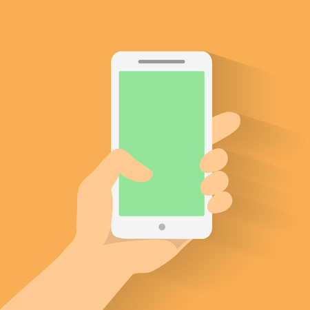 hand phone: Hand holding smart phone on orange background. Flat design vector Illustration