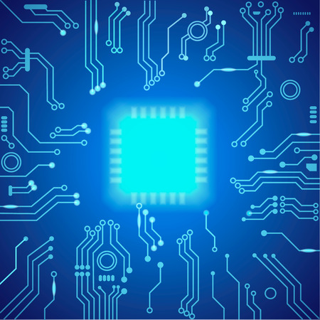 processor: Abstract hi-tech blue background. Processor and chip, cpu computer design. illustration. Stock Photo