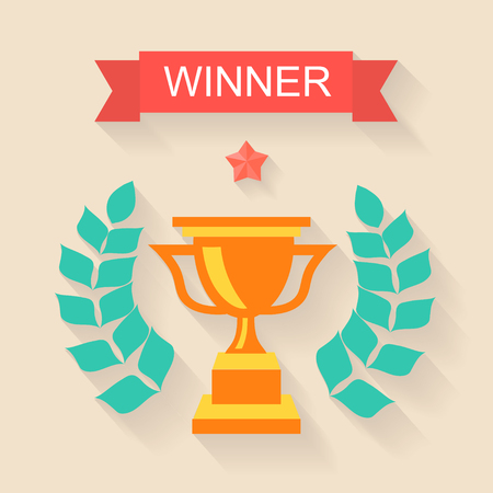 winner: Trophy winner Ribbon in flat  design  illustration